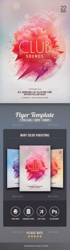 Club Sounds Flyer — Photoshop PSD #template #professional • Download ➝ https://graphicriver.net/item/club-sounds-flyer/19367967?ref=pxcr