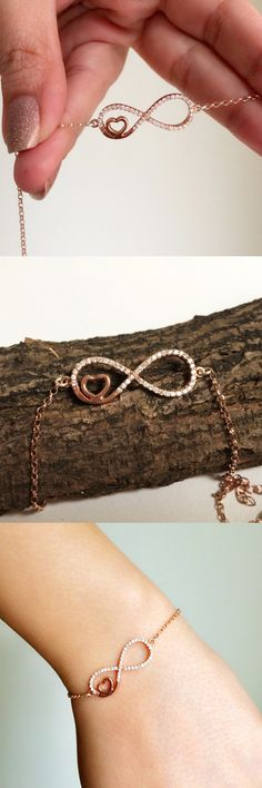 Infinity bracelet with zirconia - rose gold filled infinity charm - infinity…