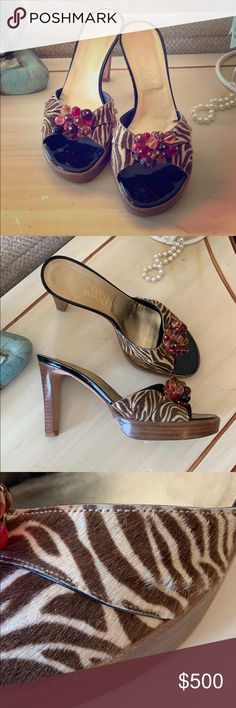 2099b1002 Vintage Gianni Versace Heels Absolutely gorgeous authentic Vintage Versace  Heels/Sandals with brown and cream mohair and a beaded multicolor accent on  top ...