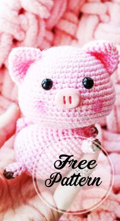 Sweet and Free Amigurumi Pig Pattern Pink Colored , amigurumi patterns free; amigurumi for beginners; Crochet Pig, Crochet Patron, Crochet Motifs, Crochet Patterns Amigurumi, Crochet Gifts, Amigurumi Doll, Free Crochet, Amigurumi Free, Knitted Dolls