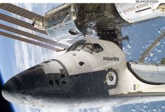 Favorite photo of mine - STS-132 photo taken on orbit by astronaut during EVA to clear Shuttle chine area for any evidence of damage from launch.  Atlantis is docked to Station in photo.  (nasa.gov)