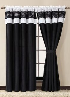 Amazon.com: Ava Black and White Curtain Set w/ Tassels / Sheers: Home & Kitchen