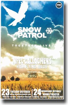 Snow Patrol concert Tour Poster with noel Gallagher $9.84 #SnowPatrol
