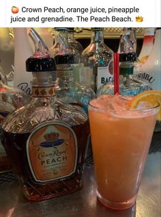 🍑 Crown Peach, orange juice, pineapple juice and grenadine. The Peach Beach. Beach Drink Recipes, Alcohol Drink Recipes, Punch Recipes, Liquor Drinks, Cocktail Drinks, Beach Alcoholic Drinks, Bourbon Drinks, Acholic Drinks, Bartender Drinks