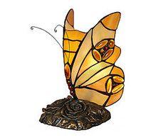 Lampada da tavolo in vetro Butterfly giallo - 13x22x13 cm