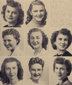 1949 Oregon State yearbook photo love top and bottom middle Retro Makeup, Vintage Makeup, Vintage Beauty, 1940s Hairstyles, Bun Hairstyles, Wedding Hairstyles, Wedding Updo, Retro Updo, Yearbook Photos