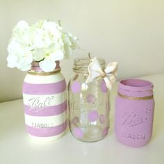 Baby Shower Mason Jar Decor. Baby Girl Shower. Lilac. Purple Painted Mason Jars. Centerpiece. Polka Dot Mason Jar. Nursery. Burlap.
