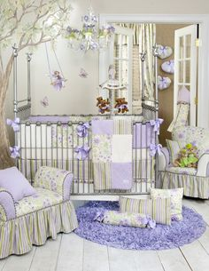 Loving the fairy on the wall!  VIOLA 4 pc GIRL Glenna Jean Crib BABY Nursery Bedding Set NEW PURPLE Floral | eBay