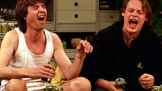 "Men Behaving Badly was controversially voted the best sitcom in the BBC's history at the corporation's 60th anniversary celebrations. It is suggested Gary and Tony were ""a reaction against the onset of the caring, sharing 'new man'. #MCMXCII"