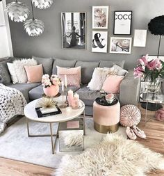 Stylish living room decor home living room Monochrome Collection Chunky Knit Blanket 50 Glam Living Room, Living Room Decor Cozy, Cozy Living, Living Rooms, Romantic Living Room, Pink Home Decor, Room Colors, Living Room Designs, Chunky Blanket