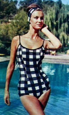 Black and white checkered vintage bathing suit, 1963