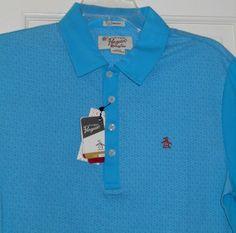 New $85 Mens ORIGINAL PENGUIN Vivid Blue Orange Logo Polo Golf Shirt~S~SALE! #OriginalPenguin #PoloRugby