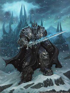 World of Warcraft Lich King Fantasy Rpg, Fantasy World, Dark Fantasy, Wow Of Warcraft, Warcraft Art, Warcraft Characters, Fantasy Characters, Arthas Menethil, Illustration Fantasy