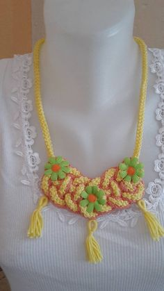 ElinorHandmade / Žltý spletaný Crochet Necklace, Jewelry, Fashion, Jewlery, Moda, Crochet Collar, Jewels, La Mode, Jewerly