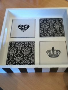 Bandejas Black & White Sweet Lala                                                                                                                                                                                 Más Decoupage Furniture, Decoupage Box, Decoupage Vintage, Diy Crafts To Sell, Home Crafts, Arts And Crafts, Damask Decor, Painted Trays, Vintage Box
