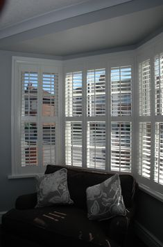 White Georgian Shutters Installed in a bay window in the Blackpool area by our specialist Shutter team – rugcut Bay Window Bedroom, Bay Window Living Room, Wooden Window Shutters, White Shutters, Interior Window Shutters, House Shutters, Interior Windows, Living Room White, Living Room Decor