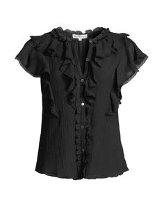 Silk Cotton Voile Ruffle Top Rebecca Taylor, Ruffle Top, Cotton Silk, Flutter Sleeve, Neiman Marcus, Goth, Luxury Fashion, Neckline, Shopping