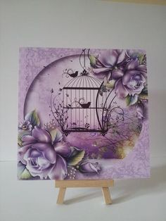 Lilac Roses Vintage Birdcage on Craftsuprint designed by Anne Lever - made by Mary Brunton - I printed the image on to satin photo paper, slightly reducing the size. I fixed the image to a 7 x 7 inch card using double sided tape. I added some crystal glitter to the small black leaves around the bird cage. - Now available for download!
