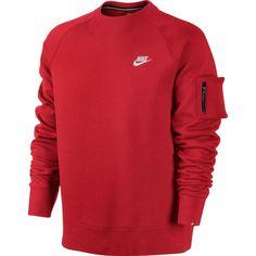 4a8a52502414 NEW Nike Mens AW77 Crew Neck Sweatshirt Red White Pocket 598701-602 Size  2XL XXL  Nike  SweatshirtCrew