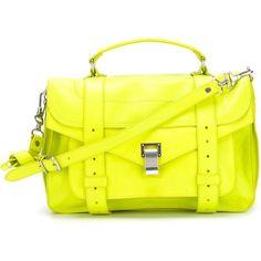 Proenza Schouler medium 'PS1' satchel ($1,950) ❤ liked on Polyvore featuring bags, handbags, green, green handbag, green leather purse, satchel handbags, kiss-lock handbags and leather handbags