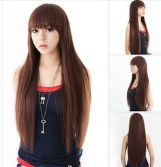 New Style 3 Colors Womens Girls Sexy Long Fashion Full Straight Hair Wig Cap W44 | eBay