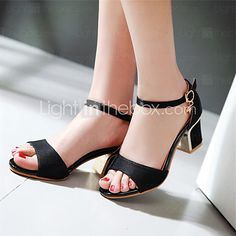 Casual elegant open toe chunky heel women sandals. Ideal for work or meetings. Find them in red, black and beige colors at $26.59