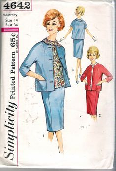 Vintage 1960's Simplicity 4642 Maternity Skirt Blouse & Jacket Sewing Pattern Size 14 by Recycledelic1 on Etsy https://www.etsy.com/listing/186434615/vintage-1960s-simplicity-4642-maternity