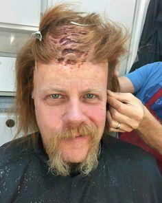 Michael Cudlitz in make-up chair.