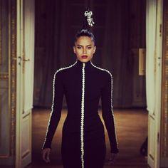 Alexis Mabille's Paris Haute Couture show saw trompe l'oeil necklaces adorned with Swarovski Elements