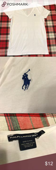 Ralph Lauren Pima Cotton V-Neck Shirt- Size L Ralph Lauren Sport Pima Cotton V-Neck Shirt Size Large Worn once, Small spot on back near neck (see photos) Great to wear under a button-up or blouse- very soft!! Comes from a smoke-free and pet-free home Ralph Lauren Tops Tees - Short Sleeve