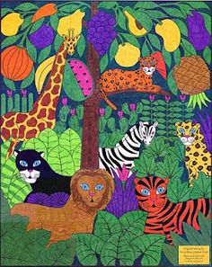Inspiration for a jungle collage scene based on a Haitian muralist.  From Art Projects for Kids.