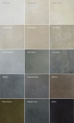 Lazenby recommend unique colours for their superior polished concrete installations. RAL colour matches available. Visit our London Showroom by appointment.                                                                                                                                                                                 More