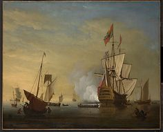 Harbor Scene: An English Ship with Sails Loosened Firing a Gun ~ Peter Monamy 1681-1749                                                      Peter Monamy                       (British, London 1681–1749 London)