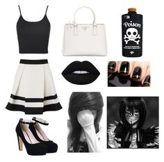 Laughing Jack / Creepypasta By: Kelsey C. by kelseyclark70 on Polyvore featuring polyvore, fashion, style, Topshop, Lipsy, Prada, Valfré, Lime Crime and clothing