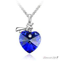 Herz Anhänger Royal blau 18k WEISSGOLD pl. im Etui, 29,99 &eu