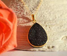 Large Black Druzy Quartz Vermeil Gold bezel set necklace - Large Gemstone necklace. $52.99, via Etsy.