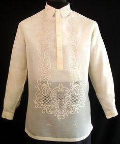 Classic Pina-Jusi Fabric Barong Tagalog - Barongs R us - Barongs R us Barong Tagalog Wedding, Barong Wedding, Filipiniana Wedding Theme, Filipiniana Dress, Mens Hottest Fashion, Filipino Fashion, Philippines Fashion, Tropical Fashion, Line Shopping
