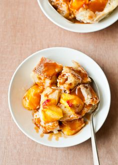 Peach Buttermilk Bread Pudding with Caramel Sauce.