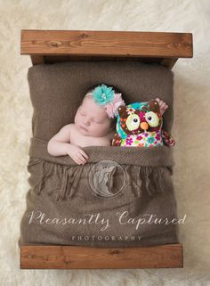 Newborn sleeping with owl and tucked into bed | Pleasantly Captured Photography | Jacksonville NC Newborn Photographer