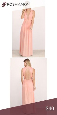 "Plunging V Maxi Dress New with tags! Open back maxi dress featuring a ladder trim and plunging V neck line.     Length 58.5"" Lined, with side zipper. Tobi Dresses Maxi"