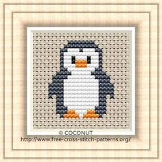 Penguin Free and easy printable cross stitch pattern Point de croix gratuit: Pingouin, Motif de Tiny Cross Stitch, Cross Stitch Letters, Cross Stitch Fabric, Cross Stitch Cards, Cross Stitch Animals, Cross Stitch Kits, Cross Stitch Designs, Cross Stitch Embroidery, Embroidery Patterns