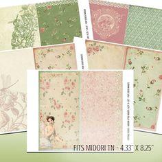 Digital Fauxdori Inserts - Printable for Midori-Like TN - Travel Journal Inserts - Roses - Collage - Journaling - Scraps - Junk Journal Pink