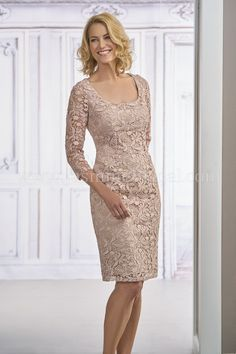 Jasmine Black Label - M190009 - Lace with Stretch lining mother of the bride dress with a scoop neckline, beautiful long fitted sleeves, and sheath skirt - knee length
