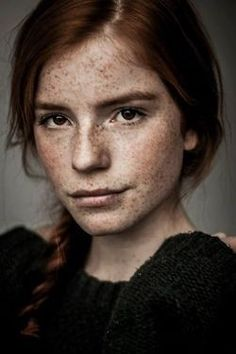 Or...Aldina could be a redhead with brown eyes? I like this girl's look. Smart yet sassy.