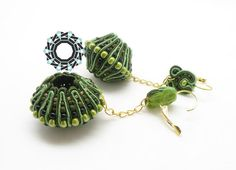 3D Soutache earrings (green)