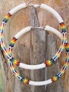 Rainbow Large Beaded Hoop Earrings  Native by n8tivebeadwork