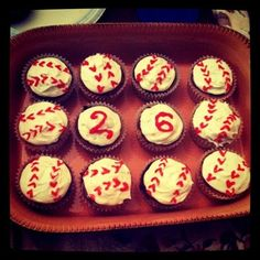 My first attempt at baking/decorating baseball cupcakes. I made these for my boyfriend's 26th birthday. :)