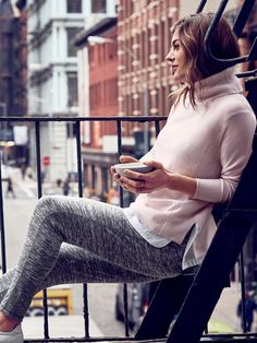 Looks We Love: Cashmere Serenity Turtleneck $198 - pair it with Metro Joggers or the Coaster Skirt | Athleta
