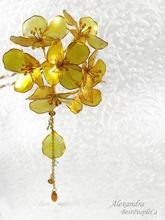 OOAK Hair Accessories Kanzashi Stick Fork Pin Gold by BestPeopleCa