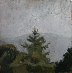 Patrick George (English, b. 1923), Fir Trees in Hilly Landscape, 1940s. Oil on board, 10.2 x 10 in.